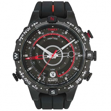 Timex outdoorhorloge IQ Tide Temp Compass zwart/rood/siliconen band T2N720