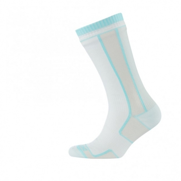 Sealskinz Thin Mid Length Sock dames wit blauw
