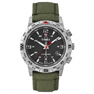 Timex outdoorhorloge IQ Compass groen canvas band T2P286