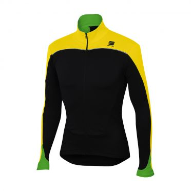 Sportful Force thermal lange mouw fietsshirt zwart/fluo geel heren