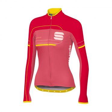 Sportful Grupetto pro W thermal lange mouw fietsshirt roze/rood dames