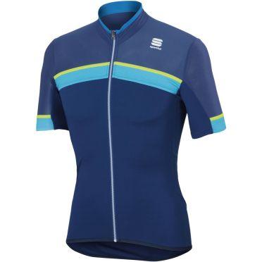 Sportful SF pista fietsshirt korte mouw blauw/geel heren