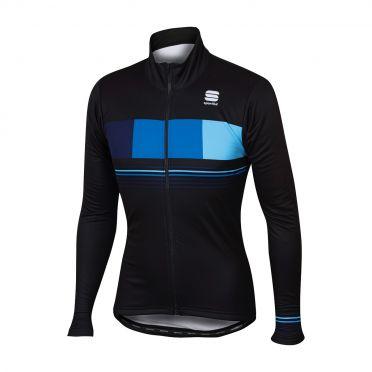 Sportful Stripe thermal lange mouw jacket zwart/blauw heren