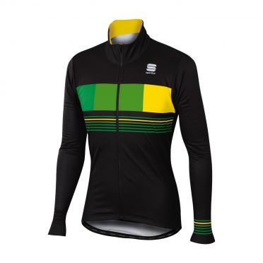 Sportful Stripe thermal lange mouw jacket zwart/groen heren