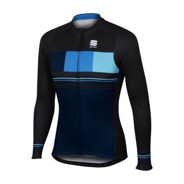 Sportful Stripe thermal lange mouw fietsshirt blauw/zwart heren