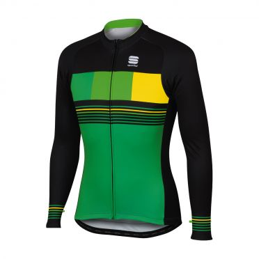 Sportful Stripe thermal lange mouw fietsshirt groen/zwart heren