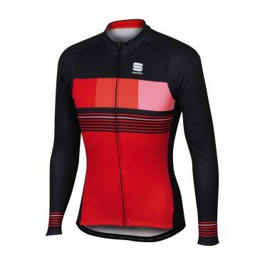 Sportful Stripe thermal lange mouw fietsshirt rood/zwart heren