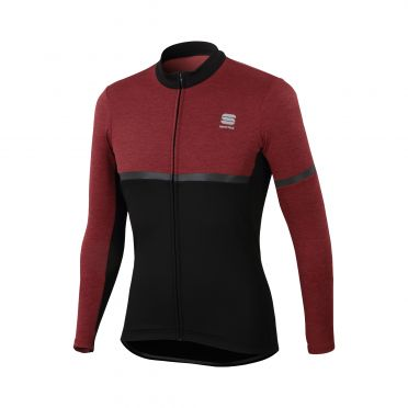 Sportful Giara warm lange mouw fietsshirt zwart/paars heren