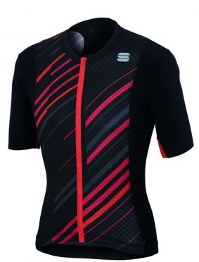 Sportful R&D celsius jersey korte mouw fietsshirt zwart/antraciet/rood heren