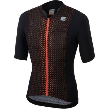 Sportful R&D celsius jersey korte mouw fietsshirt zwart/oranje heren