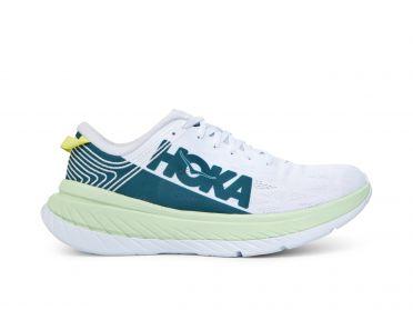 Hoka One One Carbon X hardloopschoenen wit/groen heren
