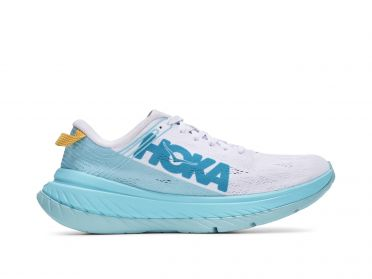 Hoka One One Carbon X hardloopschoenen cyaan/wit dames