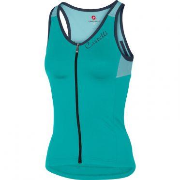 Castelli Solare top mouwloos groen/blauw dames