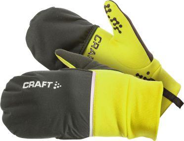Craft Hybrid weather hardloophandschoen geel