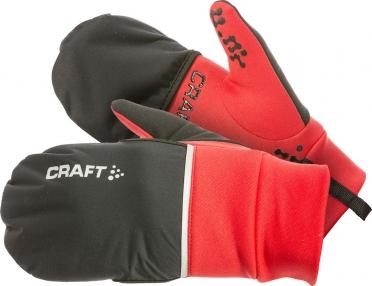 Craft Hybrid weather hardloophandschoen rood/zwart