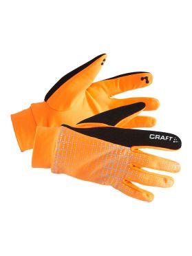 Craft Brilliant 2.0 thermal hardloophandschoen oranje/reflecterend