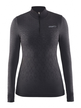 Craft Warm wool comfort rits lange mouw ondershirt zwart dames