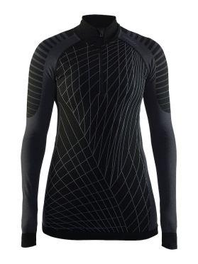 Craft Active intensity zip lange mouw ondershirt zwart/granite dames