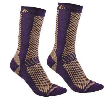 Craft warm mid sokken paars/sprint 2-pack