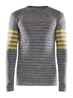 Craft Fuseknit comfort blocked lange mouw ondershirt grijs/geel heren