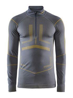 Craft Active Intensity zip lange mouw ondershirt grijs/geel heren