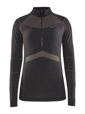 Craft Active Intensity zip lange mouw ondershirt zwart/roze dames