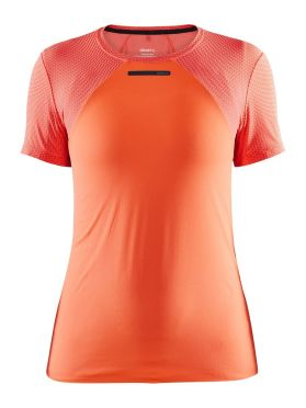 Craft Vent Mesh korte mouw hardloopshirt oranje dames
