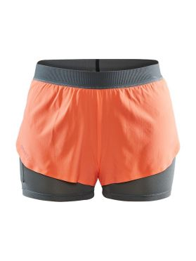 Craft Vent 2 in 1 Racing hardloop short oranje dames