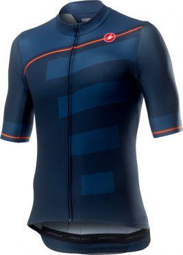 Castelli Trofeo korte mouw fietsshirt blauw/oranje heren