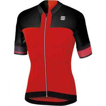 Sportful Strike jersey korte mouw fietsshirt rood/zwart heren