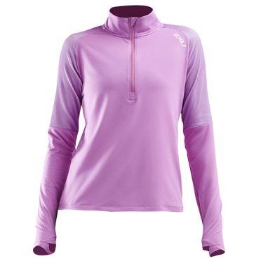 2XU GHST 1/2 Zip hardloopshirt lange mouw roze dames