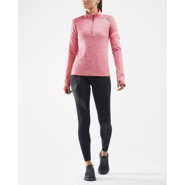 2XU Pursuit Thermal 1/4 Zip hardloopshirt lange mouw roze dames