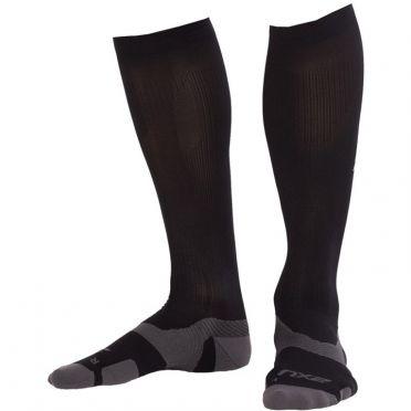 2XU Vectr merino LC Full Lenght compressie hoge sokken zwart/grijs