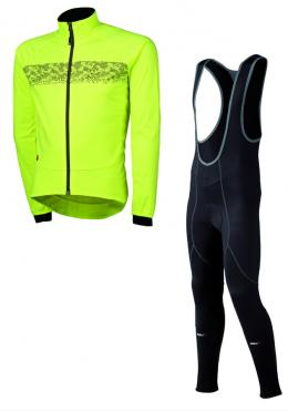 Agu Inverno light fietsbroek met zeem + Nova hivis jacket geel heren