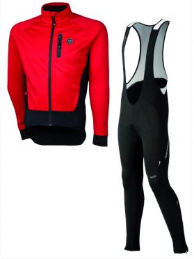 Agu Tarvisio WIND fietsbroek met zeem + Tirano fietsjack rood heren