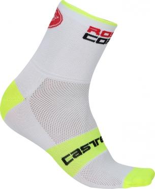 Castelli Rosso corsa 6 fietssokken wit/geel heren