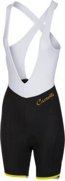 Castelli Vista bibshort fietsbroek zwart/fluo geel dames