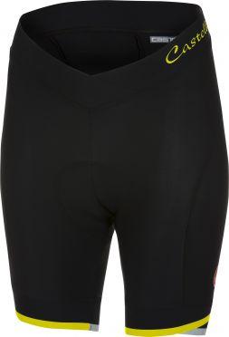Castelli Vista short fietsbroek zwart/fluo geel dames