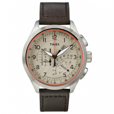 Timex outdoorhorloge IQ Linear Indicator Chronograph donkerbruin T2P275