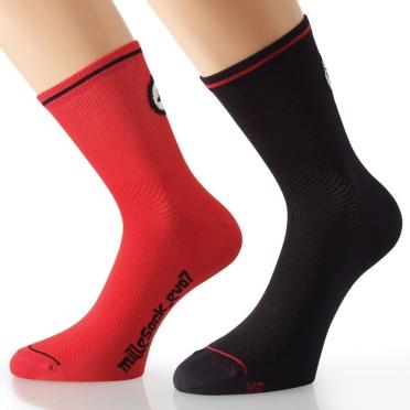 Assos MilleSock Evo7 Fietssokken 2-pack zwart rood