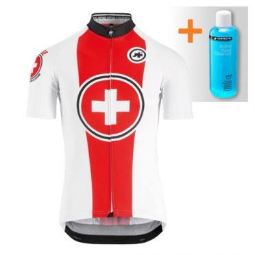 Assos Suisse Fed SS korte mouw fietsshirt wit/rood heren