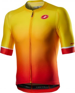 Castelli Aero race 6.0 korte mouw fietsshirt geel/oranje heren