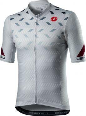 Castelli Avanti korte mouw fietsshirt zilvergrijs heren