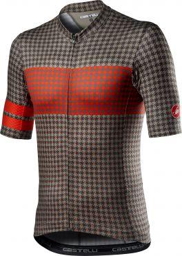 Castelli Maison korte mouw fietsshirt donkergroen/rood heren