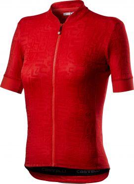 Castelli Promessa Jaquard SS fietsshirt rood dames