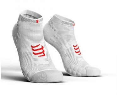 Compressport Pro racing v3.0 lage hardloopsokken wit