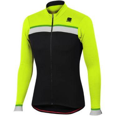 Sportful Pista thermal fietsshirt lange mouw zwart/geel heren