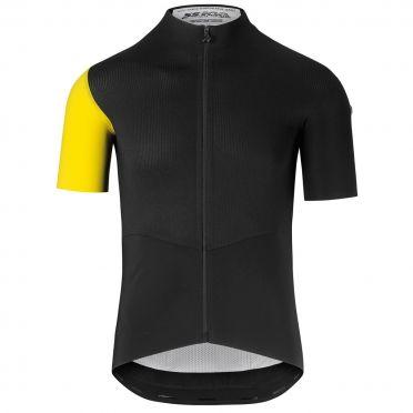 Assos SS.cento evo8 korte mouw fietsshirt zwart/geel heren
