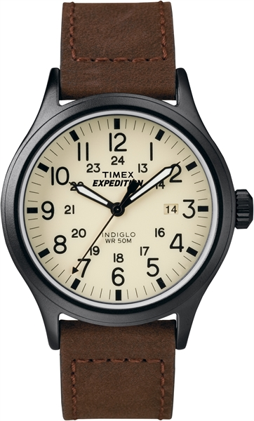 Timex Expedition Scout Metal bruin leren band (T49963)