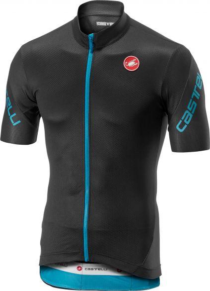 Castelli Entrata 3 FZ fietsshirt korte mouw donkergrijs/blauw heren  18010-030